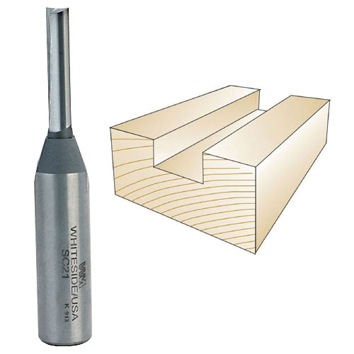 WHITESIDE #SC21 SOLID CARBIDE STRAIGHT BIT - 1/2 INCH SH X 1/4 INCH CD X 1 INCH CL