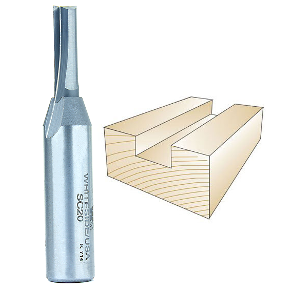 Whiteside SC20 Solid Carbide Straight Bit - 1/2 Inch SH X 1/4 Inch CD X 3/4 Inch CL