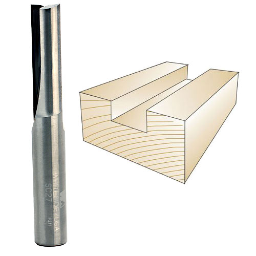 WHITESIDE #SC27 SOLID CARBIDE STRAIGHT BIT - 1/2 INCH SH X 1/2 INCH CD X 1-1/2 INCH CL