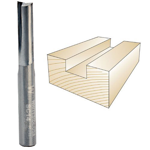 Whiteside SC14 Solid Carbide Straight Bit - 1/4 Inch SH X 1/4 Inch CD X 1/2 Inch CL