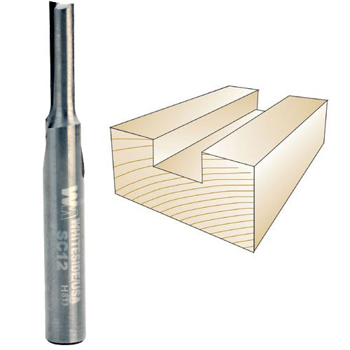 Whiteside SC12 Solid Carbide Straight Bit - 1/4 Inch SH X 3/16 Inch CD X 5/8 Inch CL