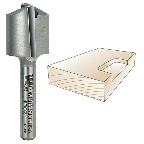 Whiteside 1302 Straight Mortising Bit - 1/4 Inch SH x 3/4 Inch CD x 3/4 Inch CL