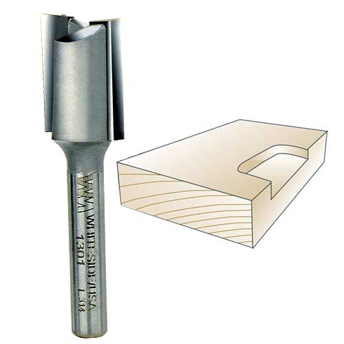WHITESIDE #1301 STRAIGHT MORTISING BIT - 1/4 INCH SH X 5/8 INCH CD X 3/4 INCH CL