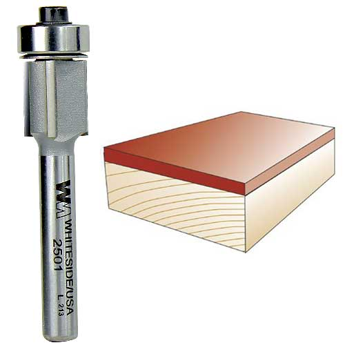 Whiteside 2501 Three Flute Flush Trim Router Bit, 1/4-Inch Shank x 1/2-Inch CD x 1/2-Inch CL