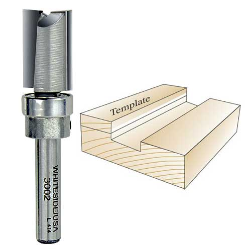 Whiteside 3002 Template Router Bit, 1/4-Inch Shank x 1/2-Inch CD x 3/4-Inch CL