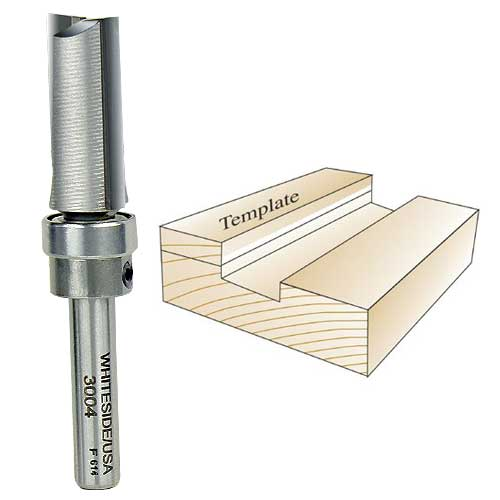 Whiteside 3004 Template Router Bit, 1/4-Inch Shank x 1/2-Inch CD x 1-Inch CL