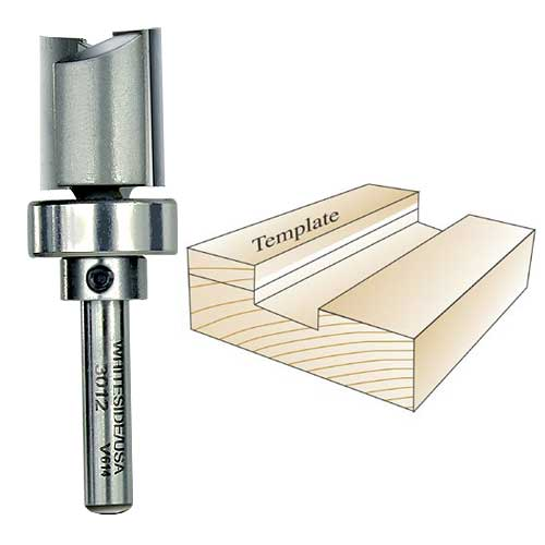 Whiteside 3012 Template Router Bit, 1/4-Inch Shank x 3/4-Inch CD x 3/4-Inch CL