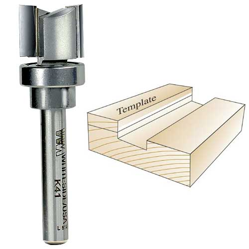 Whiteside K41 Keller Template Bit - 1/4 Inch SH X 5/8 Inch CD X 1/2 Inch CL