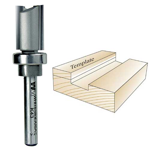 Whiteside K43 Keller Template Bit - 1/4 Inch SH X 5/8 Inch CD X 3/4 Inch CL