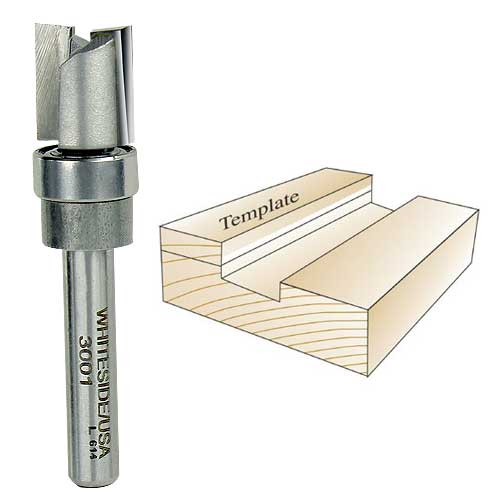 Whiteside 3001 Template Route Bit, 1/4-Inch Shank x 1/2-Inch CD x 1/2-Inch CL