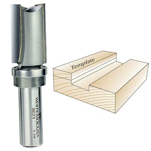 Whiteside 3021 Template Router Bit, 1/2-Inch Shank x 3/4-Inch CD x 1-1/4-Inch CL