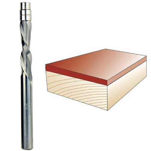 WHITESIDE #RFTD2100 SPIRAL DOWN CUT FLUSH TRIM BIT - 1/4 INCH SH X 1/4 INCH CD X 1 INCH CL