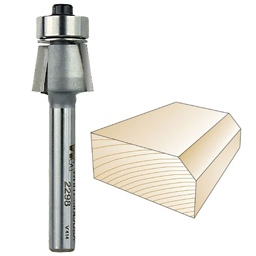 WHITESIDE #2298 7 DEGREE EDGE BEVEL BIT - 1/4 INCH SH X 3/8 INCH CL X 3/8 INCH CH