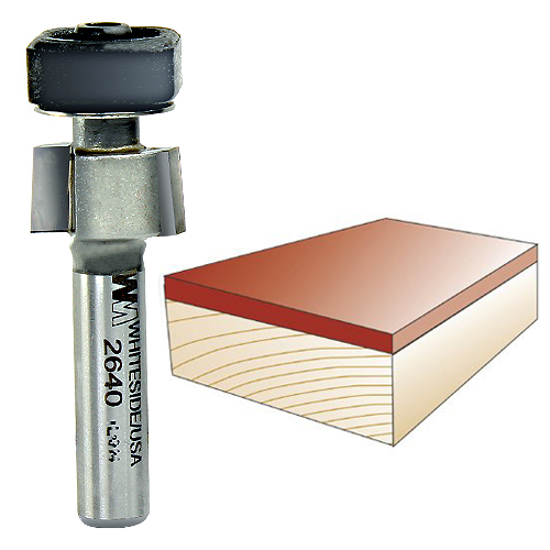 WHITESIDE #2640 LAMINATE TRIM BIT WITH EURO SQUARE BEARING - 1/4 INCH SH X 1/2 INCH CD X 1/4 INCH CL