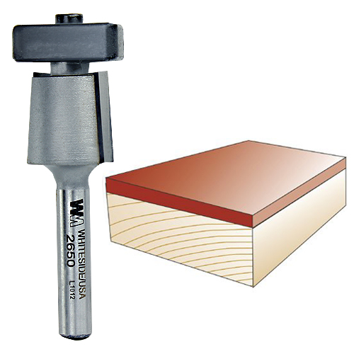 WHITESIDE #2650 LAMINATE TRIM BIT WITH EURO SQUARE BEARING - 1/4 INCH SH X 3/4 INCH CD X 5/8 INCH CL