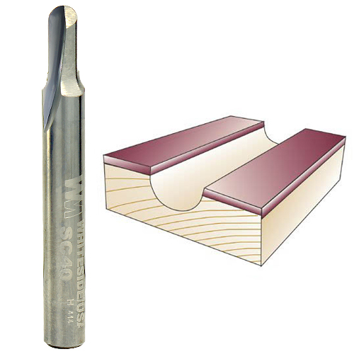 Whiteside SC40 Core Box Router Bit, 1/4-Inch SH x 3/32-Inch R x 3/16-Inch CD