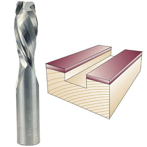 WHITESIDE #UD5122M SPIRAL UP / DOWN CUT BIT - 1/2 INCH SH X 1/2 INCH CD X 1-1/4 INCH CL