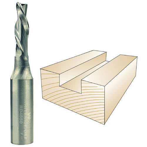 WHITESIDE #RD4850 SPIRAL DOWN CUT BIT - 1/2 INCH SH X 5/16 INCH CD X 1 INCH CL