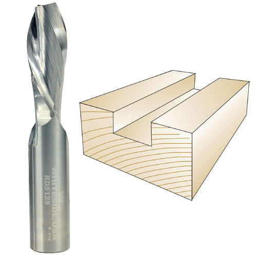 WHITESIDE #RD5125 SPIRAL DOWN CUT BIT - 1/2 INCH SH X 1/2 INCH CD X 1-1/4 INCH CL