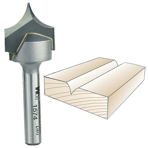 Whiteside 1574 Point Cutting Roundover Bit - 1/4 Inch SH X 3/8 Inch R X 3/4 Inch CD