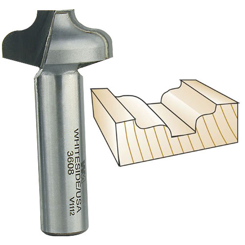 Whiteside 3608 Plunge Ogee Router Bit, 1/2-Inch Shank x 3/16-Inch R