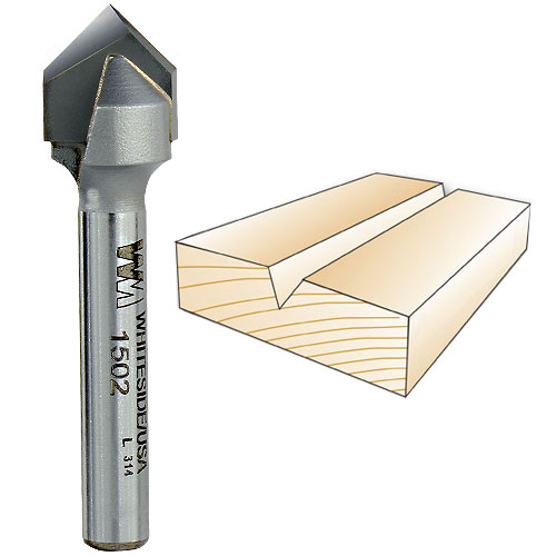 Whiteside Router Bits 1502 V-Groove Bit with 90-Degree 1//2-Inch Cutting Diameter