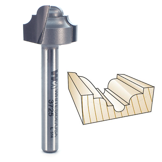 Whiteside 3725 Classical Round Bottom Router Bit, 1/4-Inch Shank x 1/8-Inch R
