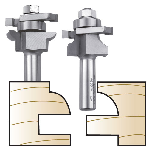 Whiteside 6001X Plywood Panel Round Stile & Rail Bit Set - 1/2 inch SH