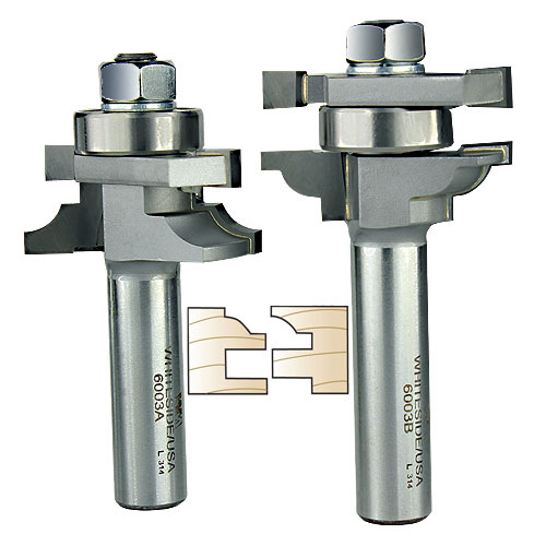 WHITESIDE #6003 BEAD STILE & RAIL BIT SET - 1/2 INCH SH