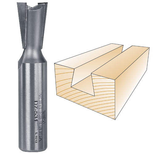 WHITESIDE #D7-531 PORTER- CABLE DOVETAIL BIT - 1/2 INCH SH X 17/32 INCH LD X 7 DEGREE