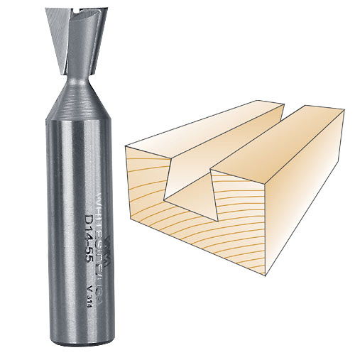 WHITESIDE #D14-55 DOVETAIL BIT - 1/2 INCH SH X 1/2 INCH LD X 14 DEGREE