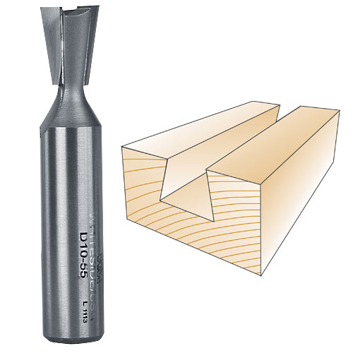 Whiteside D10-55 Incra Dovetail Router Bit, 1/2-Inch Shank x 1/2-Inch LD x 10 Degree