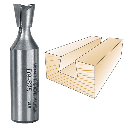 WHITESIDE #D9-375 DOVETAIL BIT - 1/2 INCH SH X 3/8 INCH LD X 9 DEGREE