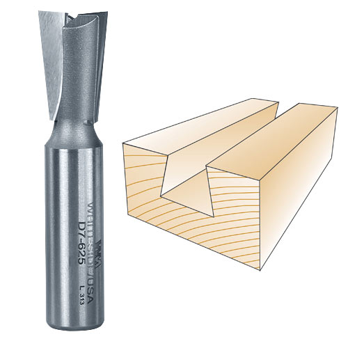 WHITESIDE #D7-625 DOVETAIL BIT - 1/2 INCH SH X 5/8 INCH LD X 7 DEGREE