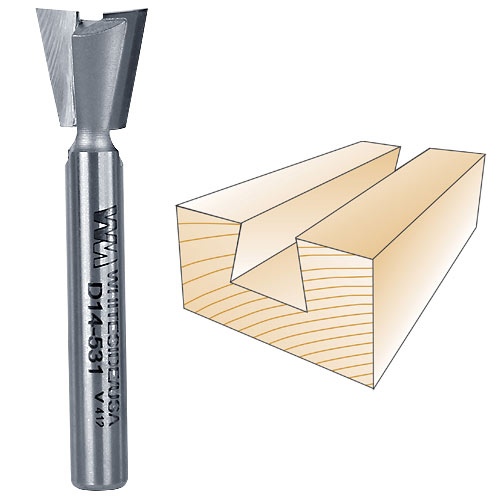 WHITESIDE #D14-531 DOVETAIL BIT - 1/4 INCH SH X 17/32 INCH LD X 14 DEGREE