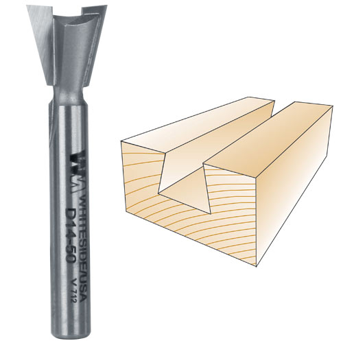WHITESIDE #D14-50 DOVETAIL BIT - 1/4 INCH SH X 1/2 INCH LD X 14 DEGREE