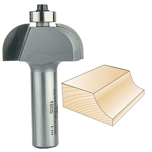 Whiteside 1805 Cove Router Bit, 1/2-Inch SH x 1/2-Inch R