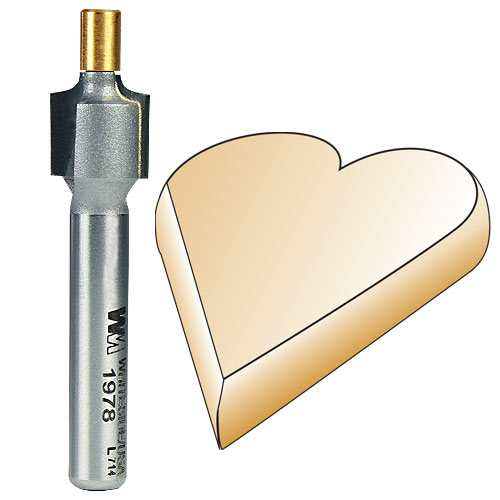 Whiteside 1978 Small Pilot Round Over Router Bit, 1/4-Inch SH x 1/16-Inch R