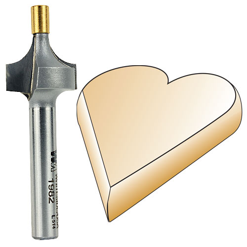 Whiteside 1982 Small Pilot Round Over Router Bit, 1/4-Inch SH x 1/4-Inch R