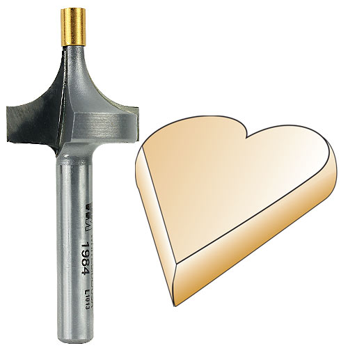 Whiteside 1984 Small Pilot Round Over Router Bit, 1/4-Inch SH x 3/8-Inch R
