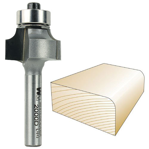 Whiteside 2000D Round Over Router Bit, 1/4-Inch SH x 5/32-Inch R