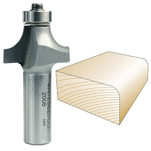 Whiteside 2008 Round Over Router Bit, 1/2-Inch SH x 3/8-Inch R