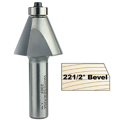 WHITESIDE #2307 22-1/2 DEGREE EDGE BEVEL BIT - 1/2 INCH SH X 15/16 INCH CL X 7/8 INCH CH
