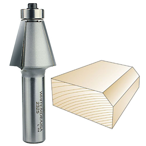 Whiteside 2325 15 Degree Edge Bevel Router Bit, 1/2-Inch SH x 1-Inch CL x 15/16-Inch CH