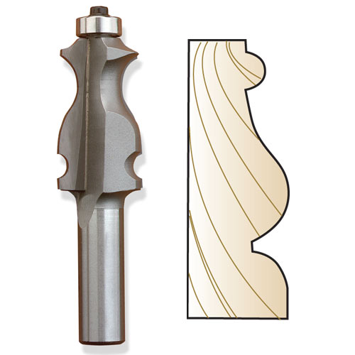 Whiteside 3326 Specialty Molding Router Bit, 1/2-Inch SH x 1/4-Inch BD x 1-5/8-Inch CL