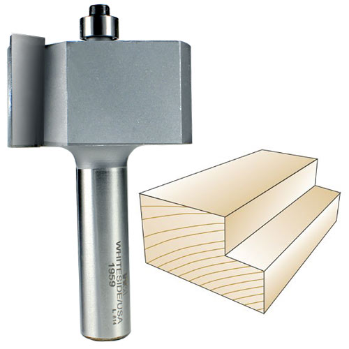Whiteside 1959 Rabbeting Router Bit, 1/2-Inch SH x 1-Inch CL x 3/4-Inch CD