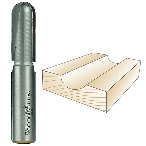 WHITESIDE #1408 CORE BOX BIT - 1/2 INCH SH X 1/4 INCH R X 1/2 INCH CD