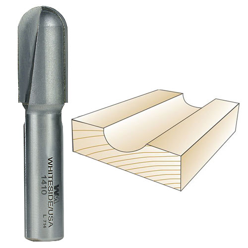 WHITESIDE #1410 CORE BOX BIT - 1/2 INCH SH X 5/16 INCH R X 5/8 INCH CD
