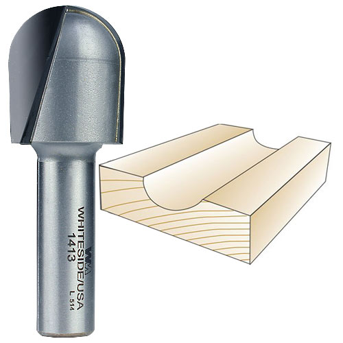 Whiteside 1413 Core Box Bit - 1/2 Inch SH X 1/2 Inch R X 1 Inch CD