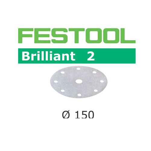 Festool 496592 150mm Brilliant 2 P220 Disc Abrasives, 100 ct